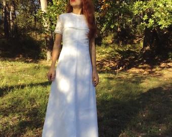 60s French Vtg white wedding maxi dress lace