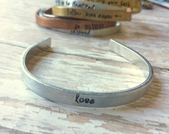 Mixed Metal Hand Stamped Personalized Cuff- Love- Bangle Bracelet Perfect for Stacking and Layering By Inspired Jewelry Designs