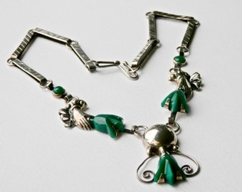 William Spratling Design Vintage Jewelry Set Signed Mexican Sterling Silver Chrysoprase Green Necklace Earrings Set Taxco Mexico 925
