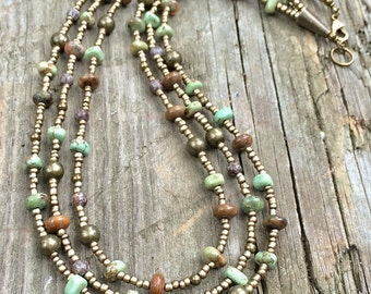 Statement necklace, boho jewelry, multistrand necklace, earthy jewelry, layered necklace, green jewelry, southwestern necklace,