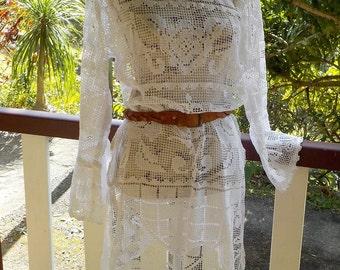 bohemian vintage lace tunic dress, romantic hippy, medium / large