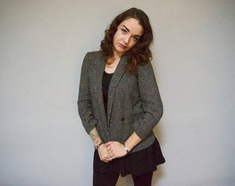 double breasted houndstooth tweed wool vintage 80s 1980s womens small blazer coat S warm professional classic preppy kitsch lapel collar