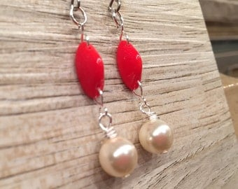 Bright red Glass Mixed with Swarovski pearls dangling earrings fashion forward trendy females statement jewelry