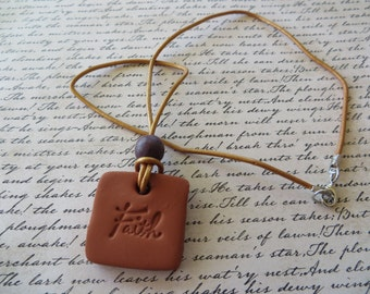 Essential Oil Diffusing Aromatherapy Leather Necklace with Wood Bead and Square Faith Terra Cotta Pendant