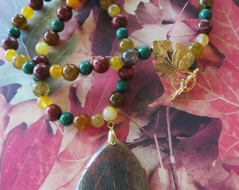 Autumn Toned Agate and Jasper Beaded Necklace with Agate Pendant