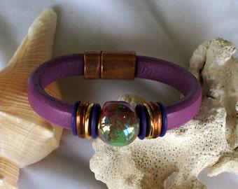 Licorice Leather Plum Ceramic Bracelet