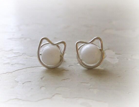 Kitty Cat Stud Earrings, Sterling Post Earrings, Wire Wrap Earrings, Pet Lover Gift, White Cat Studs, Cat Lover, Cat Jewelry, Hypoallergenic