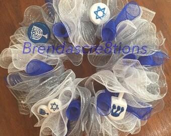 Hanukkah Decorations, Happy Hanukkah Deco Mesh Wreath, Hanukkah Gift Idea, Hanukkah Door Decoration