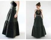 CHRISTIAN DIOR 70s Maxi Skirt- 30 Waist, Polka Dot Blue, Orange, Black, Designer Couture Vintage, Saks Fifth, Ruffled