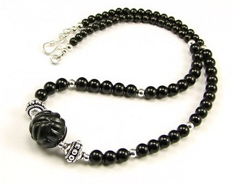 Carved Whitby Jet & Sterling Silver Necklace - N844A