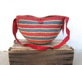 Sisal Raffia Red Large Bucket Bag African Ethnic Leather Strap