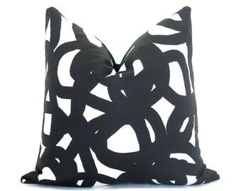 Circle Brushstrokes Pillow Cover - Black - Art Pillow - Decorative Pillow - Geometric Pillow - Black and White Pillow - Watercolor Pillow