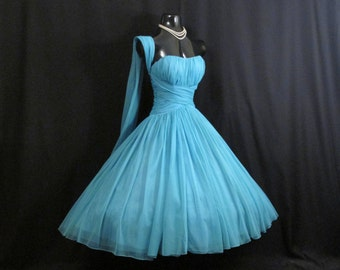 Vintage 1950's 50's 50s Strapless BLUE Turquoise Ruched CHIFFON Organza Wedding Prom Party DRESS