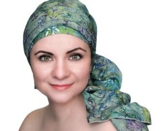 Tranquility Batik Floral  Chemo Hat,Turban Hat Set, Blue, Gray, Green, Purple Alopecia Scarf, Hat & Scarf Set 103-07