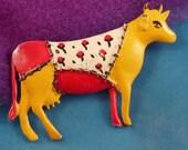 Vintage Pakula Figural Cow Brooch, Costume Jewelry Animal Pin