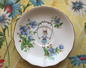 Tiny But Mighty Skipping Bunny with Blue Floral Vintage Illustrated Plate