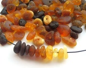 100pcs - Natural Baltic amber beads, unpolished rounded beads, yellow, honey, cherry, dark amber  5-10 mm at widest part (#106)