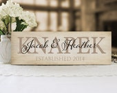Family Name Sign, Etablished Sign, Personalized Name Plaque, Housewarming or Wedding Gift