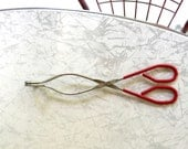 "USA Long Red Kitchen Tongs Vintage EKCO Large 10-5/8"" ~ Chrome & Red Grip Handles"