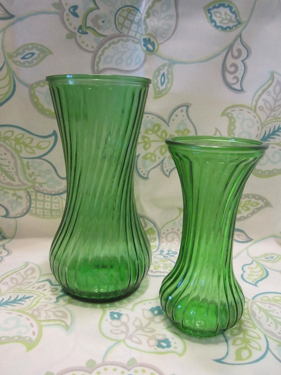 Vintage Hoosier Green Glass Vases - Mid Century Glass Vases - Large Size Only - Small is Sold