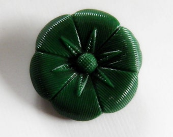 Modern Green Glass Flower Button