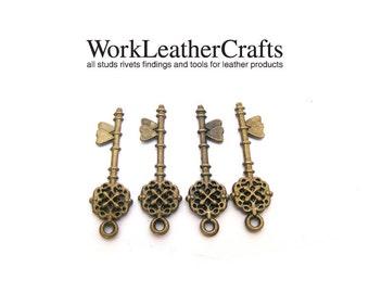 10pcs ZINC antique brass mini/miniature vintage key charm pendant pewter