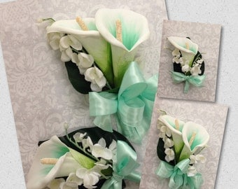 New Mint Calla Lily Men's Boutonnieres, Mint Boutonniere,  Mint Bout, Mint Mother's Corsage, Mint Corsage