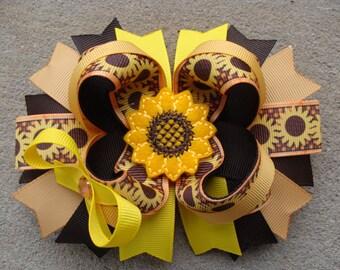 Sunflower hair bow sunflower hair clip Large Boutique Hair Bow large hair bow flower hair bow summer hair bow fall hair bow brown hair bow