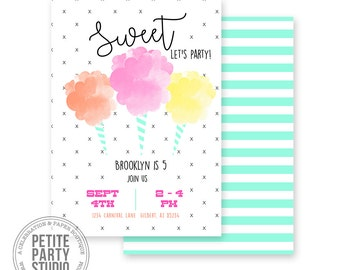 Cotton Candy Printable Party Invitation | Birthday or Baby Shower | Petite Party Studio