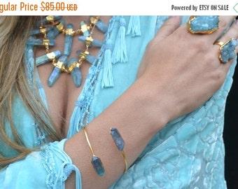 XMAS IN JULY Aqua Aura Bracelet Cuff /// Electroformed Bangle, Bohemian Jewelry, Crystal Gemstone Wrap