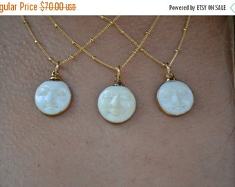 VALENTINES SALE MAN In The Moon Necklace /// Electroformed Carved Bone Moon /// Gold or Silver