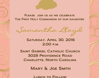 First Holy Communion Invitation -- Pink and Gold Communion invitation -- religious invitation