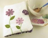Tea Bag Wallet Lavender Flowers Garden with Flower Button