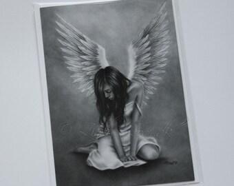 Heartbroken Angel Wings Feather Emo Art Fantasy Greeting Card