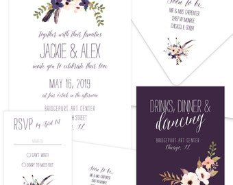 Flower Waltz eggplant wedding invitation suite; SAMPLE ONLY