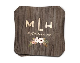 """Monogram Coasters for Rehearsal Dinners, Holiday Events, Housewarming Gift, & more, """"Woodgrain Monogram"""", paper coasters, SET OF 25"""