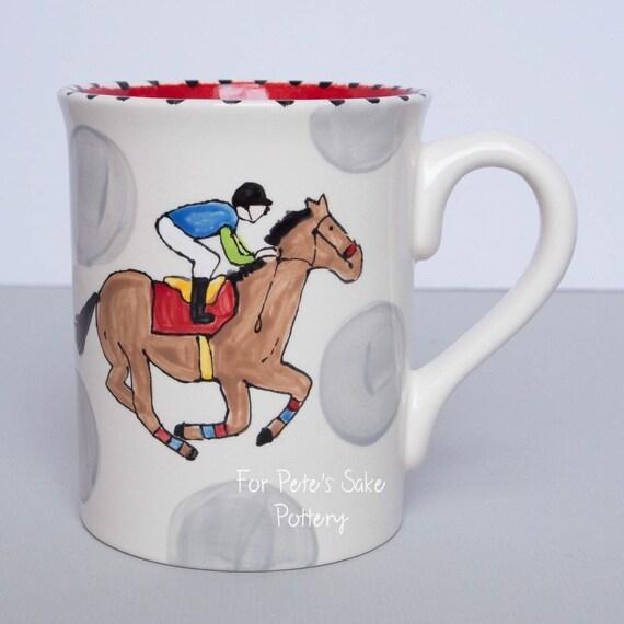 Race Horse coffee mug, Horse racing mug, Equestrian coffee cup, Derby coffee mug, Derby coffee cup