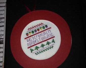 PERSONALIZED Christmas Alphabet Cross Stitch Ornament