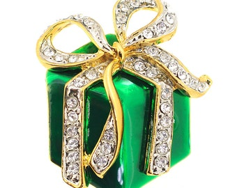 Green Christmas Giftbox with Gold Bow Brooch Pin 1005442