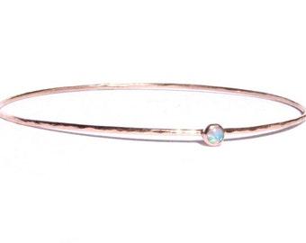 Opal on Thin 14k Solid Rose Gold Bangle Bracelet -Rose Gold Bracelet -14k Solid Gold Bangle- Hammered- Opal Rose Gold Bangle -MADE TO ORDER.
