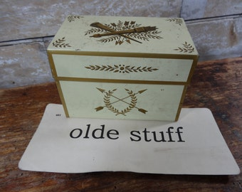 Vintage Retro Recipe Card Metal Card Box 1950s  Gold and Cream