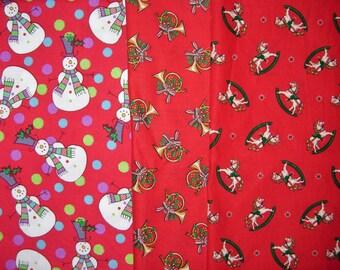 Christmas Cotton Fabric, Snowman Print