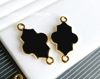 Bracelet connector, Enamel, For long necklace, Gold plated Double-sided Metal Connector in black color