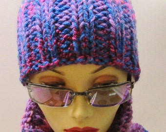 Blueberry Raseberry Ear Hat with Matching Neckwarmer