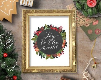 Joy to the World Wall Art Printable- 8x10 - Instant Download, Christmas, Holidays, Wreath, Pine, Winter, December, Deck the Halls Home Decor