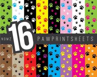 Pawprints Digital Paper, Cats, Dogs, Pets, Scrapbooking, Paperpack