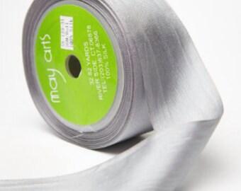 3 yds PLATINUM Silk Ribbon 1.25 inches wide   cheswickcompany