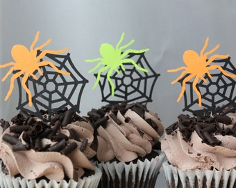 Spider in a Web Halloween Birthday Party Cupcake Toppers