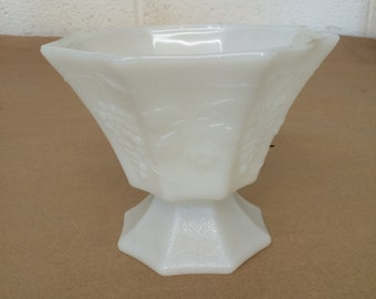 Vintage White Milk Glass Planter