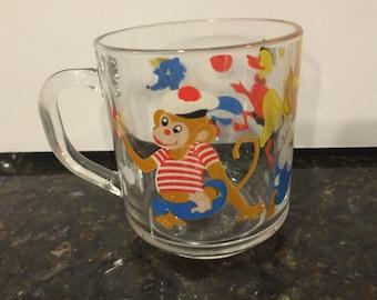 Vintage Rabbit, Monkey, Duck Glass Mug